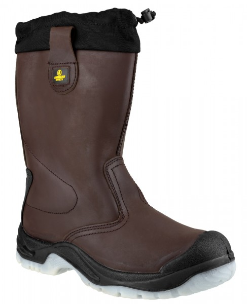 Amblers Brown S1P Pull On Rigger Safety Boots FS219