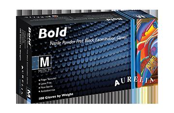 Aurelia Bold Black Powder Free Nitrile Disposable Gloves (Box of 100)