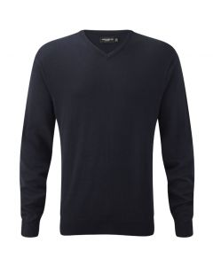 710M Russell Collection Men's V-Neck Knitted Pullover - NAVY EXTRA SMALL