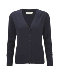 715F Russell Collection Ladies' V-Neck Knitted Cardigan - NAVY XXS