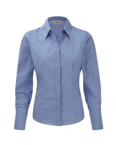 924F Russell Collection Ladies' Long Sleeve Polycotton Easy Care Fitted Poplin Shirt