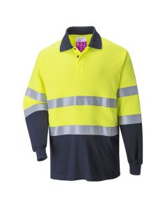 Portwest Flame Resistant Anti-Static Two Tone Polo Shirt - FR74