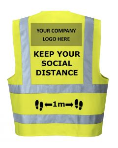 Social Distance Hi-Vis Vest with your company logo.