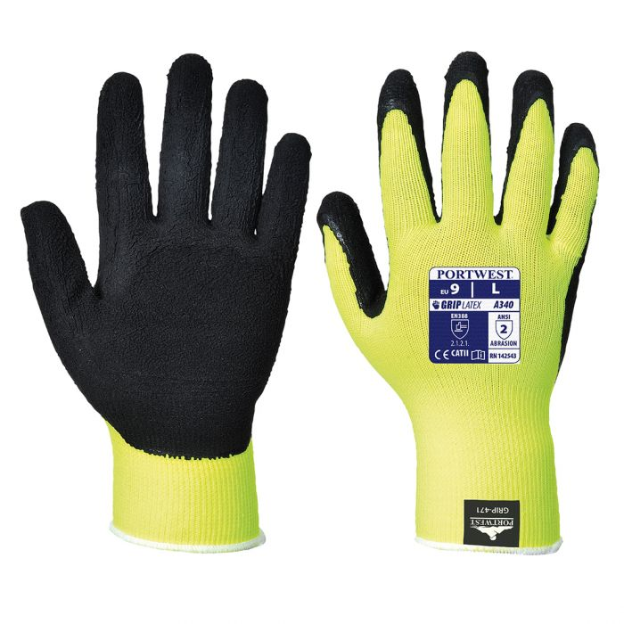 Portwest Hi-Vis Grip Glove - Latex - A340