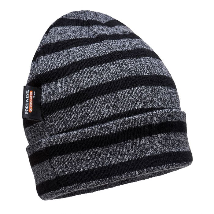 Portwest Striped Insulated Knit Cap, Insulatex Lined - B024