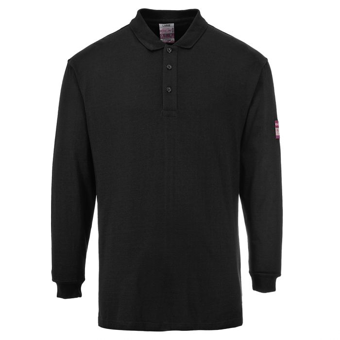 Portwest Flame Resistant Anti-Static Long Sleeve Polo Shirt - FR10