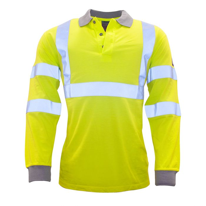 Portwest Flame Resistant Anti-Static Hi-Vis Long Sleeve Polo Shirt - FR77