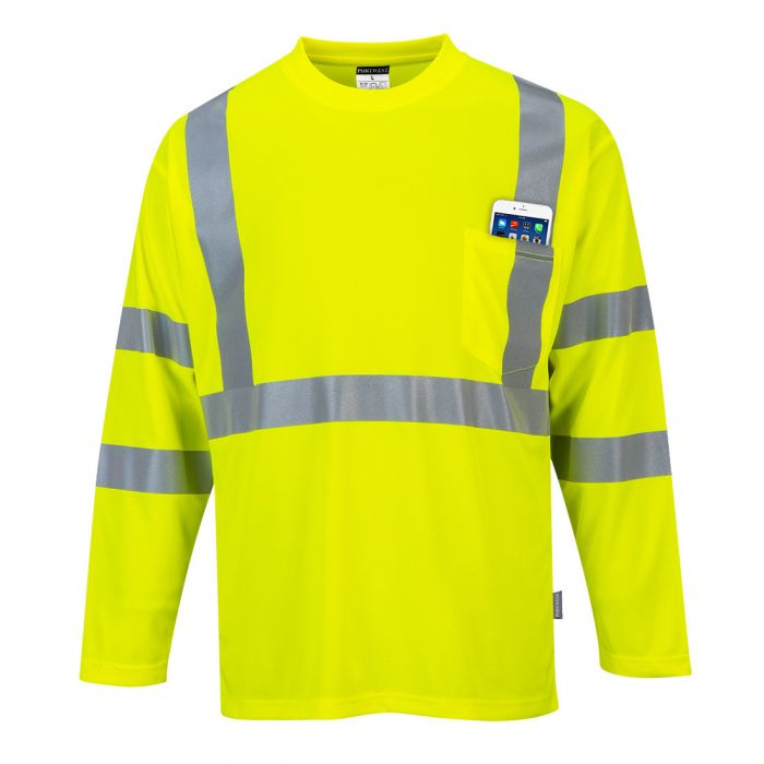 Portwest Hi-Vis Long Sleeve Pocket T-Shirt - S191