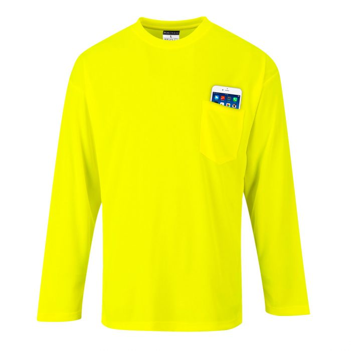 Portwest Day-Vis Pocket Long Sleeve T-Shirt - S579