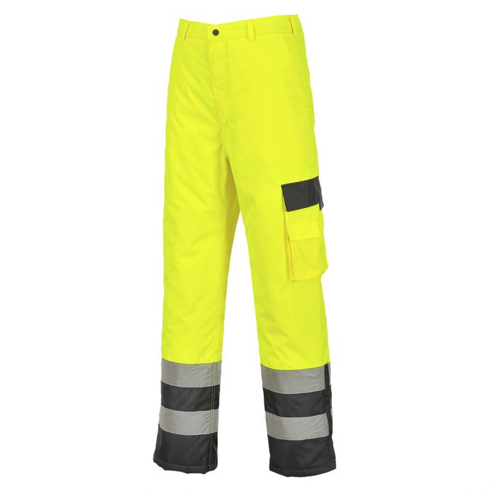 Portwest Hi-Vis Contrast Trousers - Lined - S686