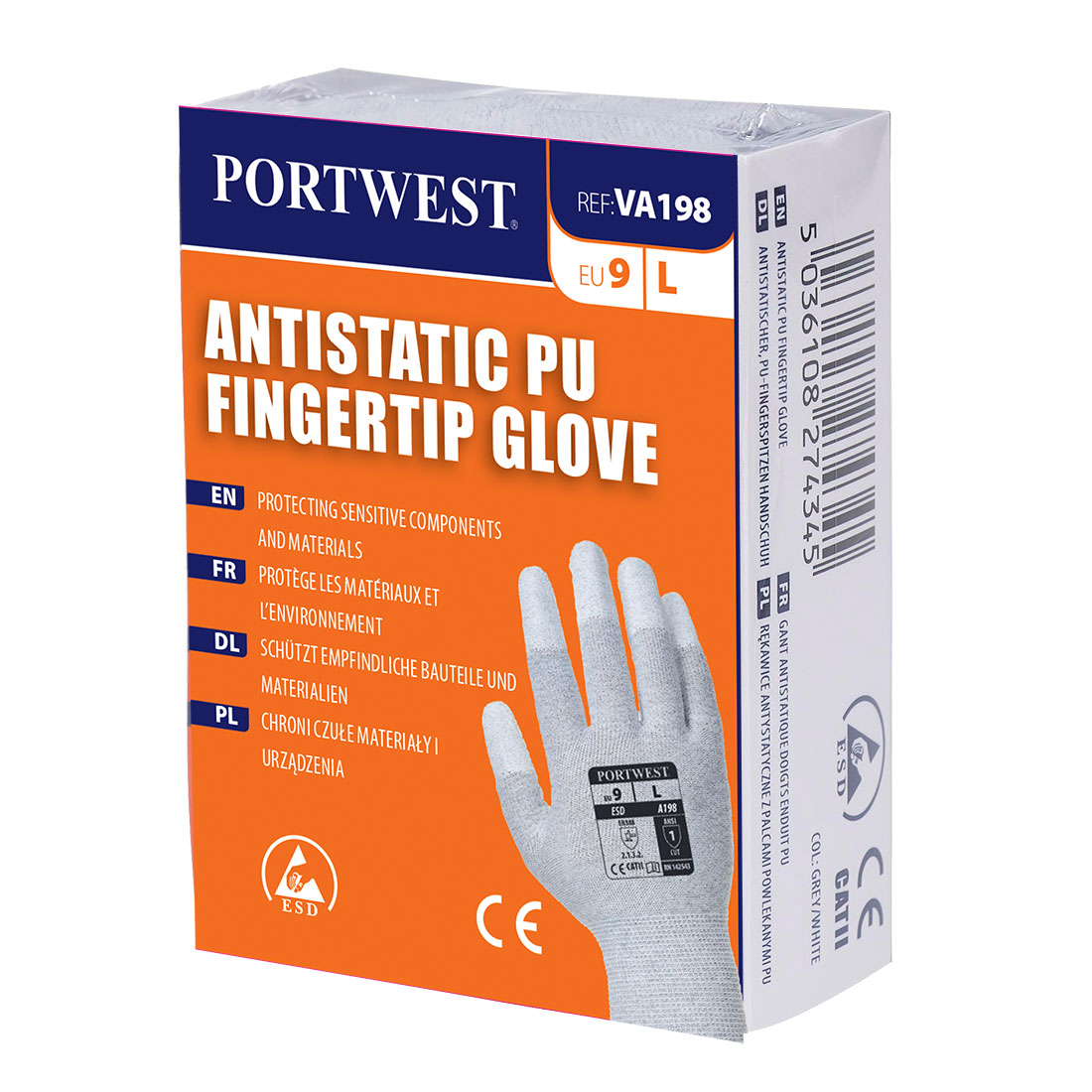 Portwest Vending Antistatic PU Fingertip Glove - VA198
