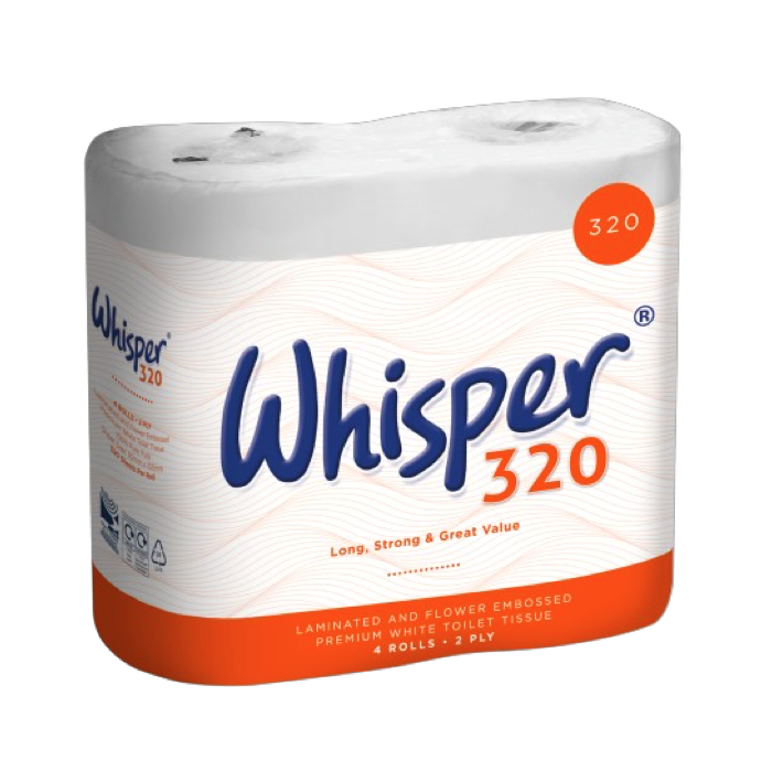 WHISPER TOILET ROLLS (PACK OF 36 ROLLS) W17151